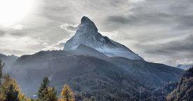 Amazing View Of The Panorama Mountain Range Near The Matterhorn In The Swiss Alps. Trek Near Matterh