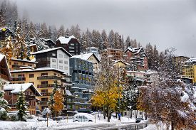 Panorama Of Sankt Moritz (saint Moritz, San Maurizio) Town In Engadine, Swiss Alps, During Winter