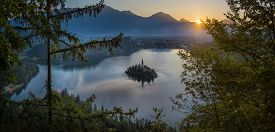 Aerial View Of Lake Bled Alps Slovenia Europe. Mountain Alpine Lake. Island With Church In Lake Bled
