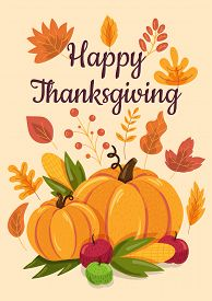 Happy Thanksgiving Flat Illustration With Calligraphic Inscription
