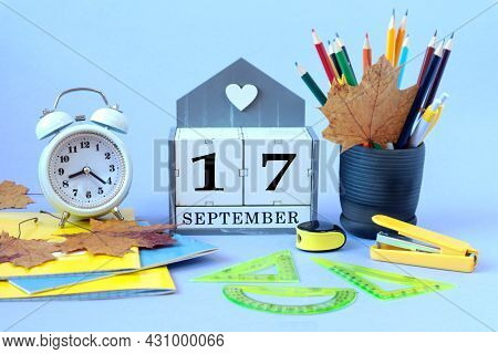 Calendar For September 17 : The Name Of The Month Of September In English, Cubes With The Number 17,