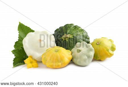 Fresh Ripe Pattypan Squashes With Leaves And Flower On White Background