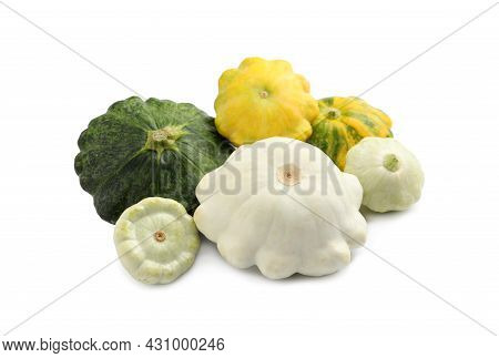 Fresh Ripe Pattypan Squashes On White Background