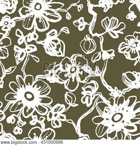 White Daisies, Dahlias Flower Seamless Pattern On A Khaki Background. Daisy Field. Ditsy Floral Patt