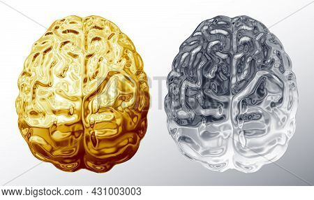 Vector Gold And Chrome Brains In Top View