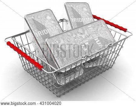 Buying Iridium Ingots. There Are Three Ingots Of 999.9 Fine Iridium In The Grocery Basket. 3d Illust