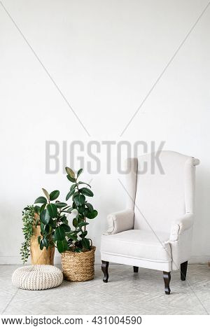 Empty Wall At Interior Design, Copy Space Above Armchair. White Room With Furniture, Modern Minimali