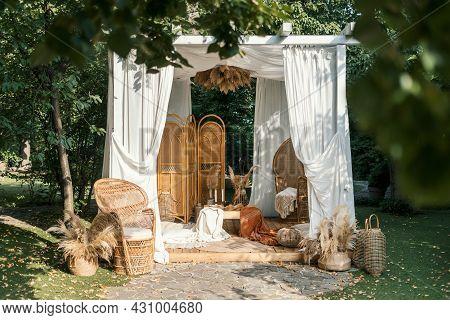 Gazebo Decor At Nature, Outdoor Design Of Arbour. Vintage Decoration Outside, Natural Rural Backgrou