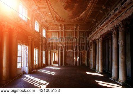 Old Majestic Abandoned Historical Mansion Znamenskoye-sadki, Inside View
