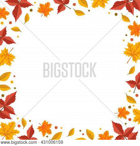 Autumn Frame With Orange Maple And Rowan Leaves. Bright Fall Border With Blank Space For Text