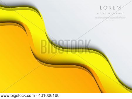 Abstract Template Wavy Curved Yellow Layers On White Background. Vector Illustration