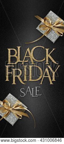 Gift Card, Black Friday Sale Text And Silver Package Wrapped With Golden Ribbon Bow Isolated On Blac
