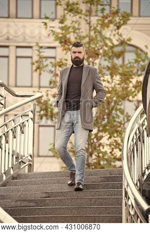 Mature Hipster With Beard. Brutal Caucasian Hipster With Moustache. Male Barber Care. Casual Fashion
