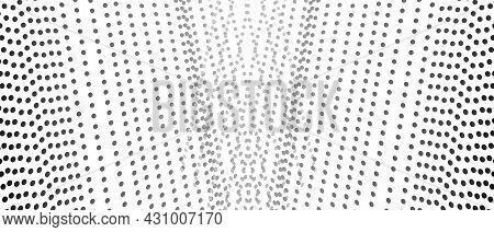 Symmetric Strips Of Black, Gray Dots, White Background. Straight Spotted Lines. Vector Monochrome Pa