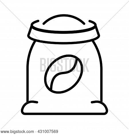 Monochrome Simple Bag Of Coffee Icon Vector Illustration. Linear Logo Sack With Seed For Storage