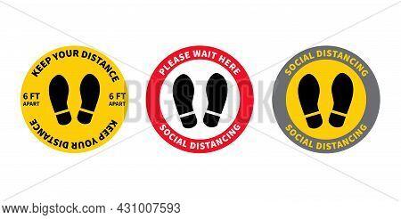 Social Distancing. Set Of Footprint Sign. Keep The 2 Meter Distance. Coronovirus Epidemic Protective