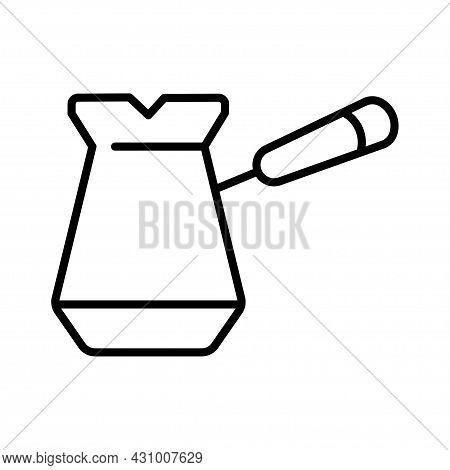 Linear Cezve Icon Preparing Coffee Vector Illustration Utensils For Preparation Hot Morning Beverage