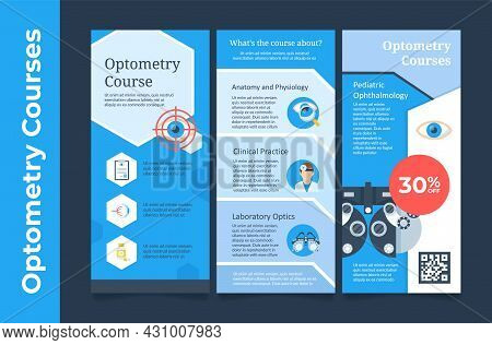 Collection Of Optometry Course Vertical Poster Advertising Vector Flat Pediatric Ophthalmology