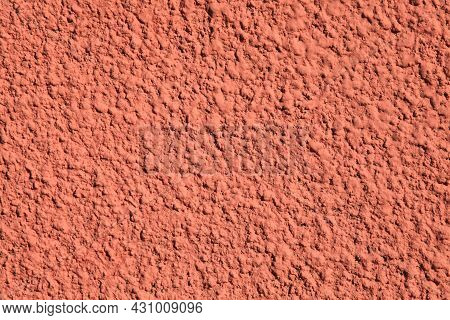 Pink Wall, Texture, Background. Relief Surface. Plastered Building Wall, Painted With Water-based Pi