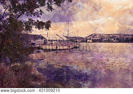 A Small Pier With Yachts And Boats In A Mountain Lake. Tranquil Water Of A Morning Body Of Water. Au
