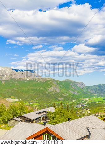 Beautiful Panorama Norway Hemsedal Skicenter With Mountains Cabin And Huts.