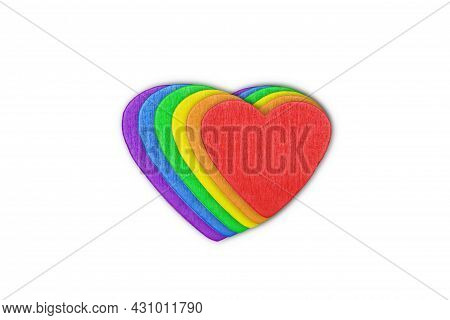 A Three-dimensional Icon In The Form Of A Rainbow Lgbt Heart Isolated On A White Background.the Conc