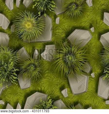 Grass Stone Vector Seamless Pattern, Ground Rock Top View Texture, Green Bushes, Gray Boulders, Moss