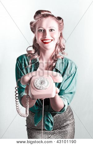 Contact Us By Telephone Said A Vintage Pinup Woman