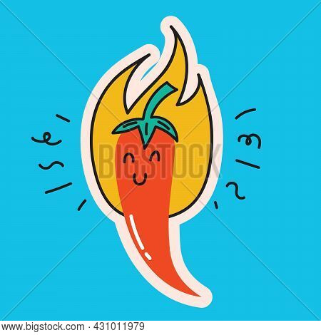 Colored Vector Illustartion Of Crazy Chilly Hot Pepper In Cartoon Flat Design
