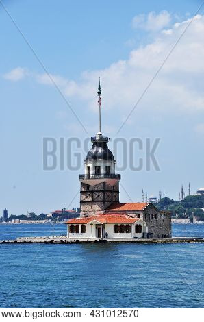 Maiden Island In The Bosphorus. View Of The Island And The Strait. July 11, 2021, Istanbul, Turkey.