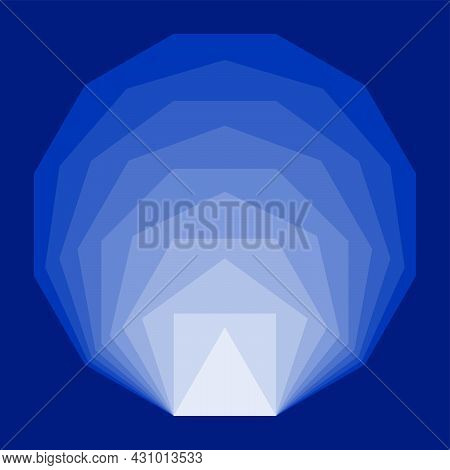 Blue Convex Regular Polygons, Placed Inside Each Other. Equiangular And Equilateral Polygons With Th