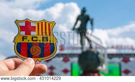 June 14, 2021 Barcelona, Spain. The Emblem Of The Football Club Fc Barcelona Against The Background