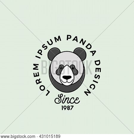 Line Style Panda Bear Face With Retro Typography. Abstract Vector Sign, Symbol Or Logo Template. Car