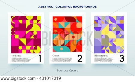 Minimal Design Covers. Simple Geometric Colorful Bauhaus Pattern. Abstract Trendy Vintage Retro Styl