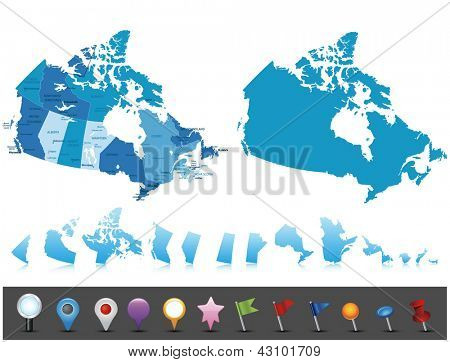 Canada - highly detailed map.All elements are separated in editable layers clearly labeled. Vector