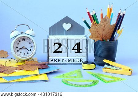 Calendar For September 24 : The Name Of The Month Of September In English, Cubes With The Number 24,