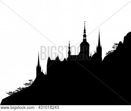 Fantasy Scene With Mountain Slope And Medieval Castle Silhouette - Fairy Tale Vector Copy Space Blac