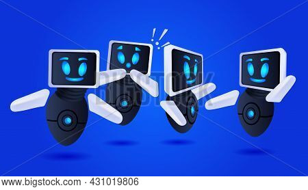 Frustrated Robots Cyborg With Exclamation Marks Help Support Service Faq Problem Artificial Intellig