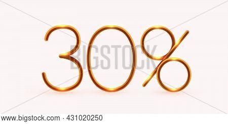 30 Percent Off. Discount Creative Composition. Mega Sale Or 30 Percent Bonus Symbol.