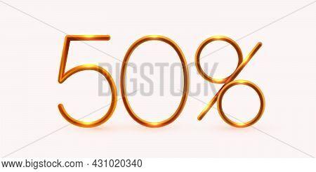 50 Percent Off. Discount Creative Composition. Mega Sale Or 50 Percent Bonus Symbol.