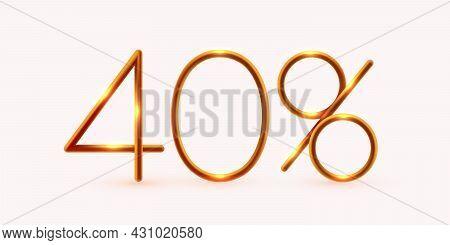 40 Percent Off. Discount Creative Composition. Mega Sale Or 40 Percent Bonus Symbol.