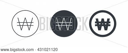 Sign Of The South Korean Won. Sign Of The South Korean Currency. Money Symbols Of The World. Vector