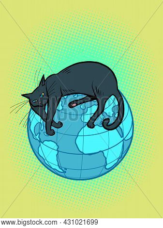 A Black Cat, A Pet, Lies On The Planet Earth. Animals