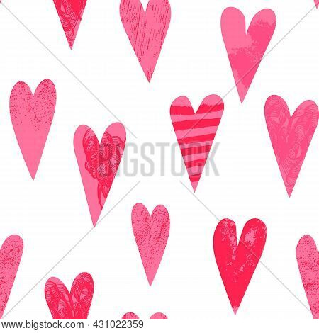 Valentines Day Seamless Pattern. Various Hearts With Artistic Hand-drawn Brushstrokes Texture