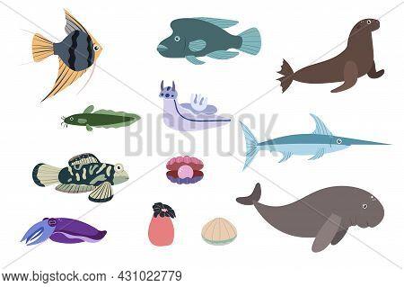 Set Of Sea Animals - Angelfish Dugon Catfish Cuttlefish Swordfish. Undersea World Habitants Print. H