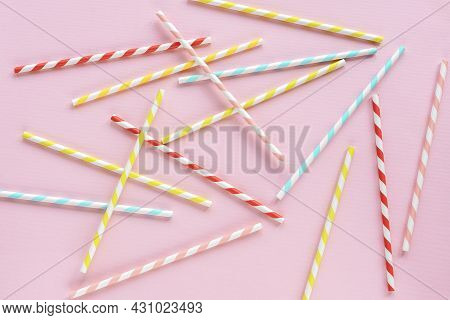 Drinking Straws For Party On Pink Background. Top View Of Colorful Paper Disposable Eco-friendly Str