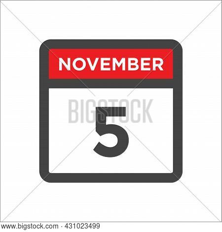 November 5 Calendar Icon W Day Of Month