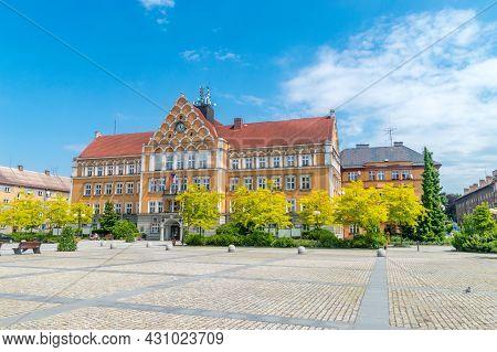 Cesky Tesin, Czech Republic - June 5, 2021: Cesky Tesin Town Hall On Czechoslovak Army Square At Ces