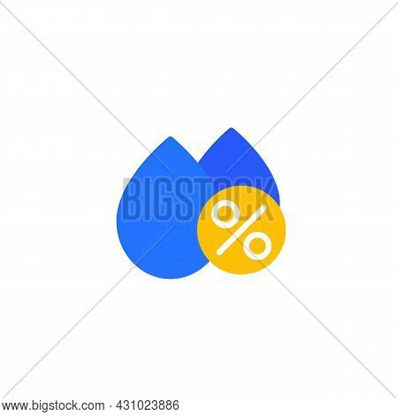 Humidity Icon, Drops And Percent, Flat Vector