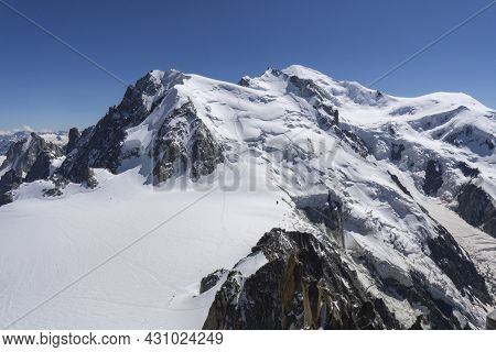 A Panoramic View Of European Alps On A Sunny Day. Mount Blanc As A Highest Mountain In Europe Covere